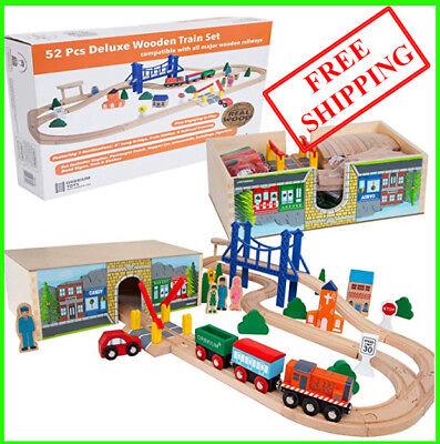Orbrium Toys 52 Pcs Deluxe Wooden Train Set with 3 Destinations Fits Thomas,cars