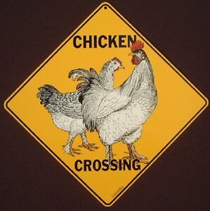 CHICKEN CROSSING Sign art print decor painting rooster picture signs home