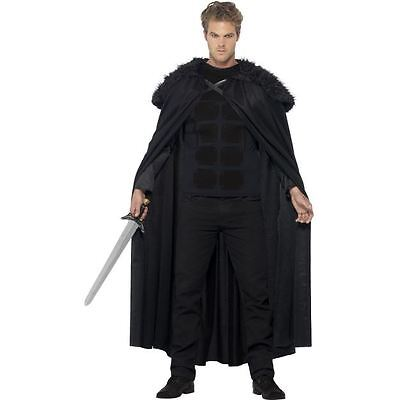 Tv Celebrity Halloween Costumes (NEW Dark Barbarian Medieval Night's Watch Snow TV Smiffys Fancy Dress)