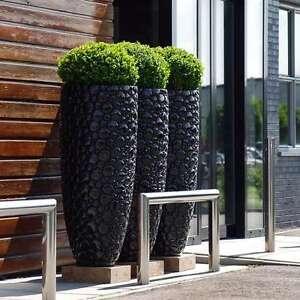 Large 380 dia Round Black Indoor Outdoor Planter Home Garden Plant Pot Box
