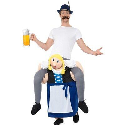 Men's Women's Piggyback Bavarian Beer Maiden Fancy Dress Costume Oktoberfest Fun](Beer Costumes For Men)