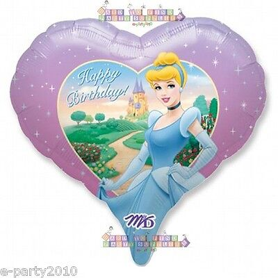 DISNEY PRINCESS CINDERELLA HEART SHAPED MYLAR BALLOON ~ Birthday Party Supplies  ()