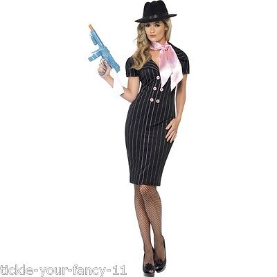Women's 1920's Gangster Moll Fancy Dress Costume Capone Great Gatsby Hen Theme ](Great Female Costumes)