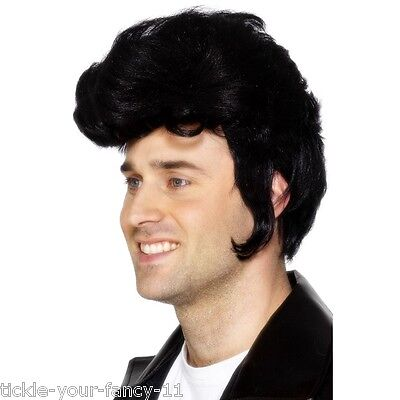 Men's 1950''s 60's Rockstar Fancy Dress Wig & Side Burns Elvis Grease Stag Theme - Grease Themed Costumes