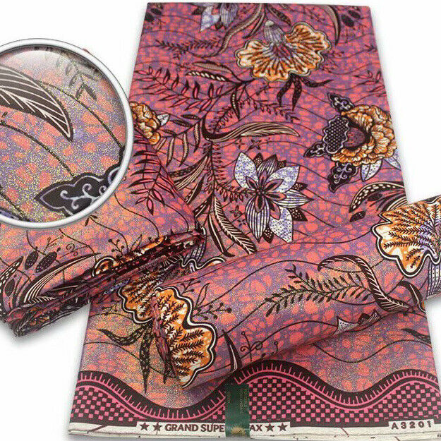 Grand-Super Wax From Vlisco Holland 6yards 100% Cotton. Multicolor fabric.