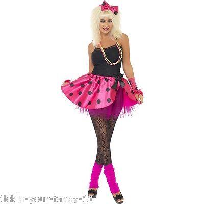 Women's 1980's Pink Tutu Fancy Dress Costume Kit Madonna Wilde Hen Party Theme  - Wild Themen Kostüm