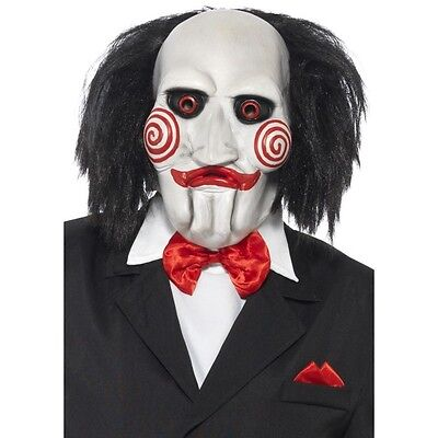 Saw Clown Costume (Men's Licensed Saw Puppet Clown Mask & Hair Movie Fancy Dress Halloween Stag)