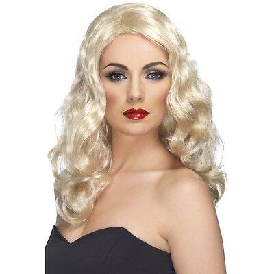 Womens 50s 60s 70s Blonde Glamorous Wig Long Wavy Fashion Pin Model Fancy - 70's Fashion Kostüm
