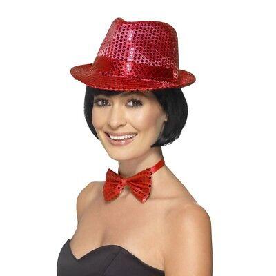 Women's Red Fancy Dress Sequin Hat & Bow Tie Dance Show Hen Night Concert Theme ()