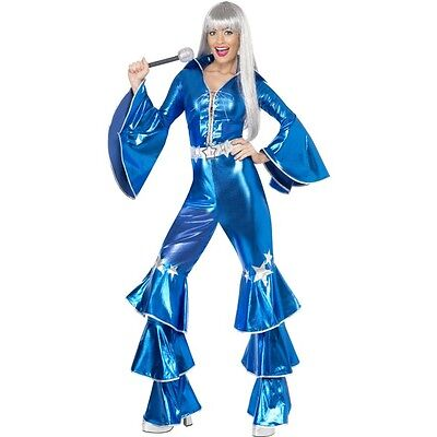 Womens 70s Dancing Dream Blue Fancy Dress Costume - Boogie Nights Kostüme