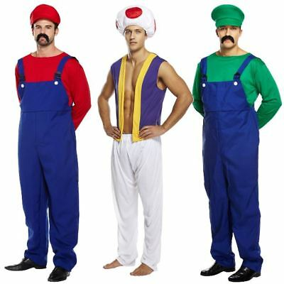Adult Mens Super Work Man Mario Mushroom Toad Plumber Fancy Dress Costume Outfit ()