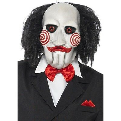 Saw Clown Costume (Adult Licensed Jigsaw Clown Mask Hair Horror Scary Saw Movie)