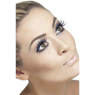 Halloween Makeup With Black Dress (Womens False Eyelashes Spiderweb with Glitter & glue 1 set Halloween Fancy)
