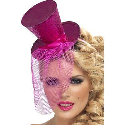 reif mit Mini Hut pink mit Tüll zum Karneval Kostüm (Halloween-kostüm Rosa Haare)