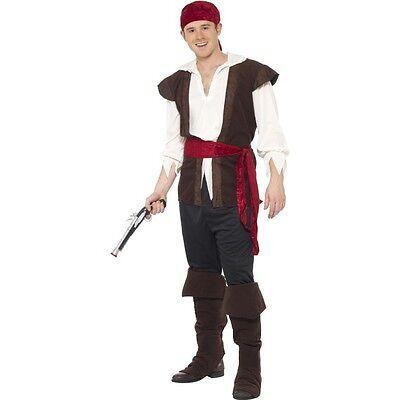 Men's Black Pirate Fancy Dress Costume World Book Day Fun Treasure Island (Men's World Book Day Kostüm)