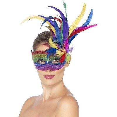 Women's Colourful Fancy Dress Carnival Eye Mask Masquerade Ball Hen Theme LGBT (Kostüm Ball Themen)