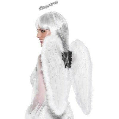 Weiß Angel Wings Halo Feder Gut Fee Damen Kostüm 55cm X 50 Cm
