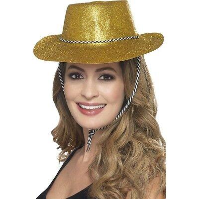 12 x Cowgirl Gold Glitter Hats Fancy Dress Hen Stag USA Texas Cowboy Western