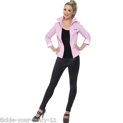Women's Adult Deluxe Licensed Pink Lady Grease Jacket 1950's 60's Sandy Hen Do