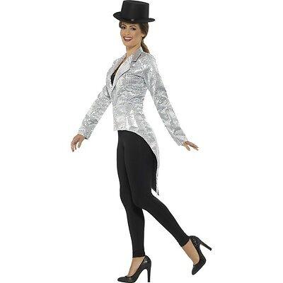Circus Master Jacket (Women's Silver Sequin Tailcoat Jacket Ring Master Circus Fun Fancy Dress)