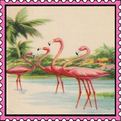 30 Custom Vintage Flamingo Stamp Art Personalized Address Labels