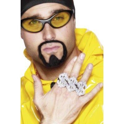 Dólar Rapero Anillos 3 Rap Rey Anillos 80s Accesorio de Disfraz
