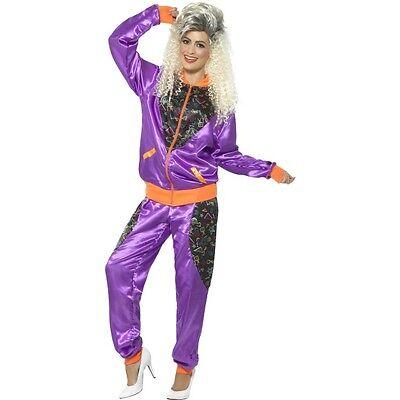 Ladies Purple Shell Suit - 80's Eighties Tracksuit Trackies Fancy Dress Costume  (Eighties Costumes)