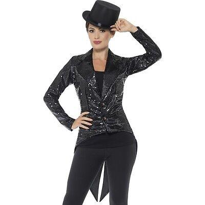 Circus Master Jacket (Women's Black Sequin Tailcoat Jacket Ring Master Circus Show Fancy Dress)