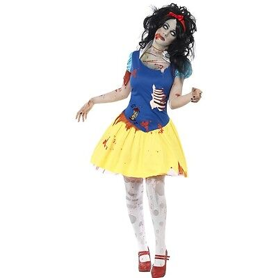Women's Zombie Snow White Princess Halloween Fancy Dress Costume Hen Theme Party