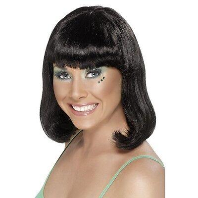 Womens Party Wig Black Short Blunt Fringe Fancy Dress Beauty Model Bob Shoulder