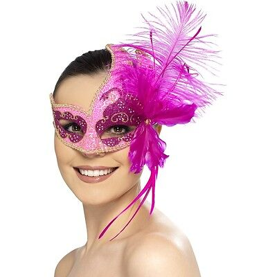 Smiffys Maskerade Karneval Angel Augenmaske mit Federn Kostüm Neu Etikett Pink