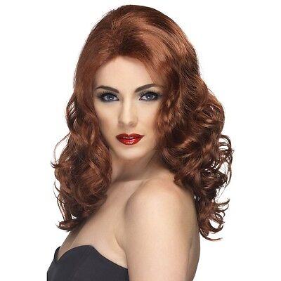 Womens 50s 60s 70s Auburn Glamorous Wig Long Wavy Fashion Pin Model Fancy - 70's Fashion Kostüm