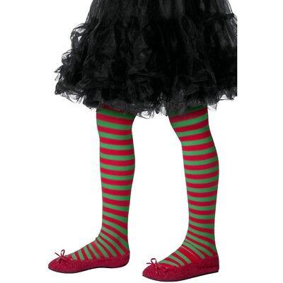Kinder Rot und Grün Gestreifte Strumpfhosen Weihnachtselfe Mädchen Kinder - Rot Und Grün Elfe Kostüm