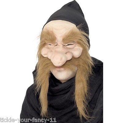 Men's Gold Digger Mask Half Face & Hood Old Man Grumpy Fancy Dress Stag Theme