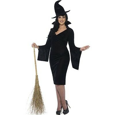 Women's Curves Black Witch Costume Horror Halloween Fun Party UK Plus Size - Fun Halloween Costumes Uk