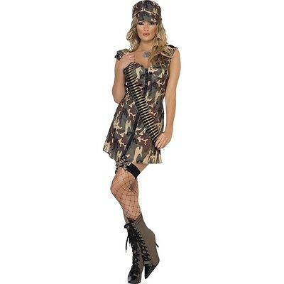 WOMEN'S FEVER GI JANE FANCY DRESS COSTUME ARMY HEN NIGHT THEME MEDIUM 12-14 - Gi Jane Kostüm