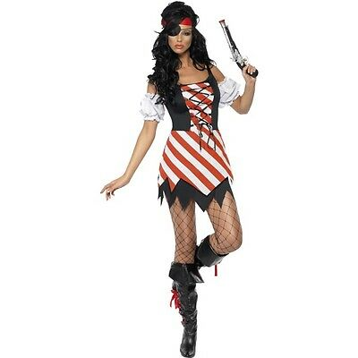 Tv Themed Costumes (Women's Sexy Fever Pirate Fancy Dress Costume TV & Film Hen Party Fun Theme Do)