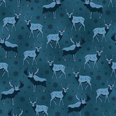 Stoff Patchwork Baumwolle Weihnachten Winter Hirsche Schneeflocken blau 0,25 lfm