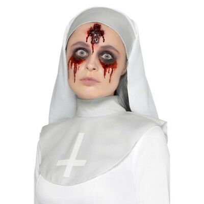 Latex Inverted Cross Wound Prosthetic Halloween Nuns Special FX Make Up - Halloween Nun Makeup