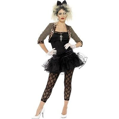 Womens 80s Wild Child Fancy Dress Costume Retro Punk Rock Madonna Pop Star Music - 80s Music Costumes