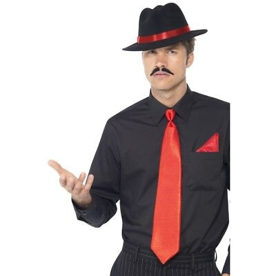 Men's 1940's 50's Al Capone Red Gangster Tie & Handkerchief Fancy Dress Stag Do ](1940 Gangster Costume)