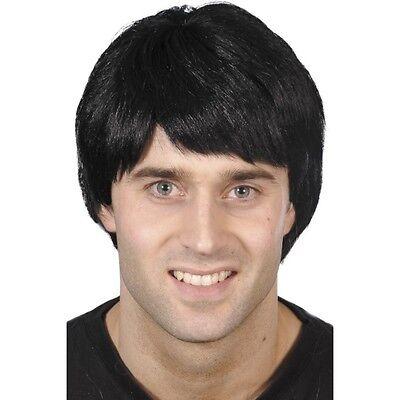 Mens Guy Wig Black Short w Fringe Fancy Dress Costume 90's 80's 70's Bieber Fun