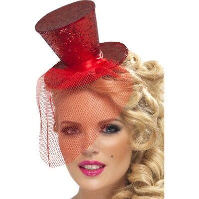 Smi - Halloween Haarreif mit Mini Hut rot mit Tüll zum Karneval Kostüm