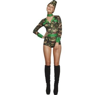 Women's Sexy Fever Army Combat Chick Fancy Dress Costume Hen Theme Party Fun Do  - Army Chick Costume