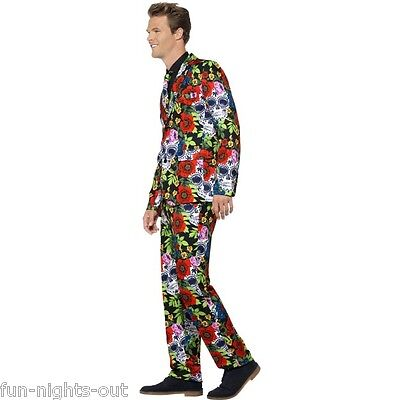 Horror Day Of The Dead Mens Stand Out Suit Stag Festival Halloween Fancy Dress - Halloween Festival Of The Dead