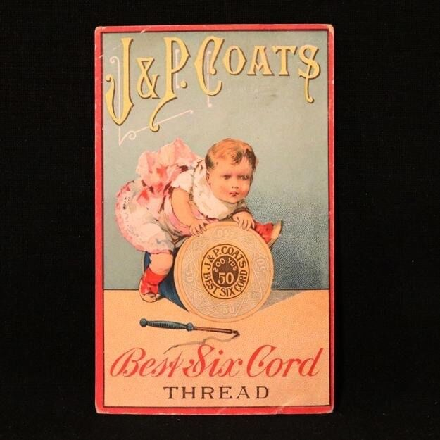 J & P Coats Trade Card - Baby Playing with Spool
