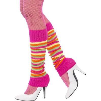 Retro Neon Beinwärmer 1980s Jahre Kostüm Verkleidung Zubehör Damen 80s Jahre Neu
