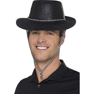 12 x Men's Black Glitter Cowboy Fancy Dress Hats American USA Western Stag Theme