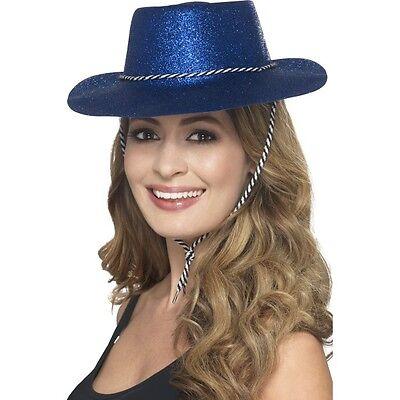 12 x Cowgirl Blue Glitter Hats Fancy Dress Hen Stag USA Texas Cowboy Western