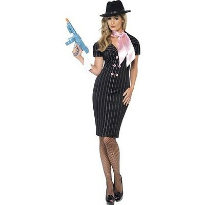 LADIES GIRLS GANGSTER LADY FANCY DRESS COSTUME 1920s 1930s MAFIA OUTFIT SMALL - Girl Gangster Outfit